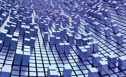 Blue Cubes Wall Background. Rendered 3D graphic, blue background, cubes on surface Stock Photo
