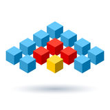 Blue cubes wings logo with red segments Royalty Free Stock Image