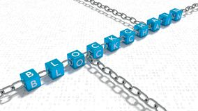 Blue cubes with the word blockchain linked with metal chains on. Random letter floor 3D illustration Royalty Free Stock Photos