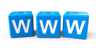 Blue cubes with www letters. On a white background stock illustration