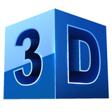 Blue cubic 3D video format sign Royalty Free Stock Images