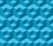 Blue cubic geometric seamless pattern Stock Photo