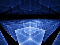 Blue cubic horizon. Abstract illustration of blue cubes horizon, perspective view stock illustration