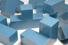 Blue cubic objects Stock Photography