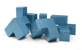 Blue cubic objects Stock Photo
