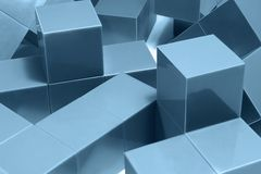 Blue cubic objects Royalty Free Stock Photos