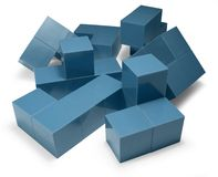 Blue cubic objects Royalty Free Stock Photo