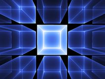 Blue cubic perspective Royalty Free Stock Photos