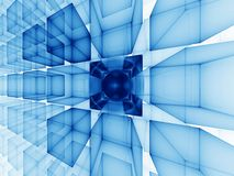 Blue cubic perspective. Abstract illustration of blue cubes perspective on white background Royalty Free Stock Photography