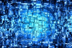 Blue cubic space. 3D reflective abstract space available for background Royalty Free Stock Photography