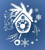 Blue cuckoo clock Royalty Free Stock Images