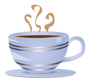 Blue cup. Of coffee on saucer, vector clipart Royalty Free Stock Photos