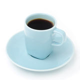 Blue cup of black coffee  Stock Photos