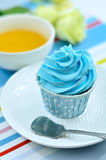Blue cup cake Stock Photography