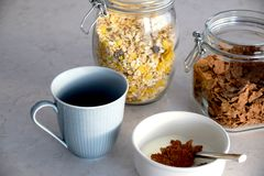 Breakfast with cereals and coffee stock images