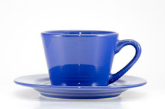 Blue cup of coffee front view Stock Images