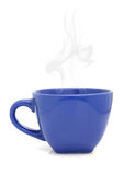 Blue cup with hot drink on white Royalty Free Stock Photo