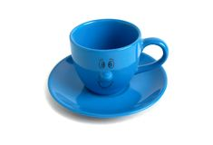 Blue cup and saucer. Isolated on white Stock Photo