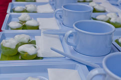 Blue cup and saucer with Thai dessert Stock Images