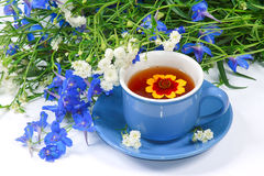 The blue cup of tea with flowers. The blue cup of tea with nice flowers Royalty Free Stock Image