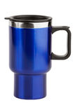 The blue cup - thermos with black handle Royalty Free Stock Photography