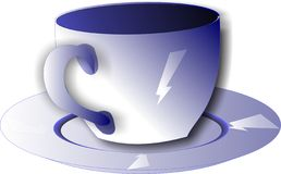 Blue cup. Vector illustration blue cup with an additional white lightning pictures Royalty Free Stock Image