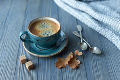 Blue cup whith coffee, knitted sweater, autumn leaves on wooden background. stock image