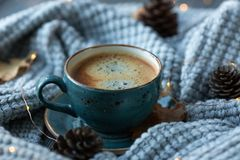 Blue cup whith coffee, knitted sweater, autumn leaves on wooden background. stock photography