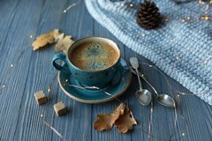 Blue cup whith coffee, knitted sweater, autumn leaves on wooden background. royalty free stock photo