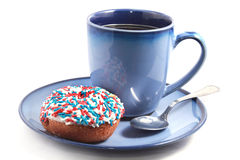 Blue Cup With Donut Stock Photos