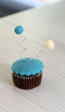 Blue cupcake. Pic of baby blue cupcake Royalty Free Stock Photos