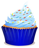 Blue cupcake with frosting Royalty Free Stock Images