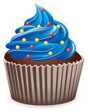 Blue cupcake with sprinkles. Vector blue cupcake with sprinkles Stock Photography