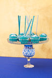 Blue cupcakes and cake pops Stock Photo