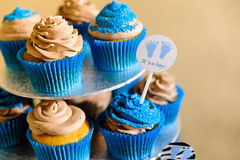 Blue cupcakes. Candy bar with blue cupcakes Stock Photography