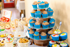 Blue cupcakes. Candy bar with blue cupcakes Stock Photo