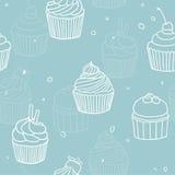 Blue cupckes pattern. Vector hand drawn seamless pattern vector illustration