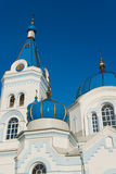 Blue cupola. Towers of Orthodox church with blue cupola Stock Image