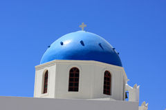 Blue cupola of greek church Royalty Free Stock Photography