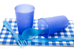 Blue Cups And Cutlery Royalty Free Stock Photography