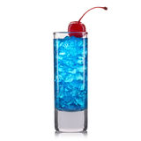 Blue curacao cocktail shot with cherry isolated on white background Stock Photography