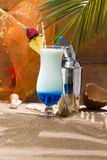 Blue Curacao cocktail with slice of ananas Royalty Free Stock Image
