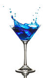 Blue Curacao cocktail splash royalty free stock photos