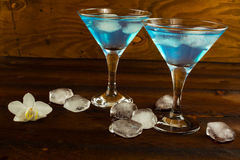 Blue curacao liqueur in a martini glasses Royalty Free Stock Photography