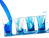 Blue Curacao shot cocktail splash Royalty Free Stock Photos