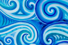 Blue Curl Waves. Painted blue and white wave curls stock illustration
