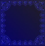 Blue curled frame decoration Stock Photo