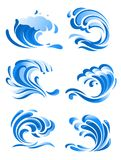 Blue curling ocean waves. Bblue curling ocean waves icons and symbols for environment design Royalty Free Stock Image