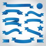 Blue Vector Ribbons Set. Blue curling ribbons and banner vector illustration. Write your own messages on these ribbons and banners Stock Photos
