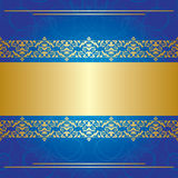 Blue curly background with golden center - vector Royalty Free Stock Photography